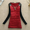Brand New Spring Winter Women Thick Dress Fashion PU Knitted Patchwork Plus Size Slim Dresses Casual Long SleeveVestido Necklace