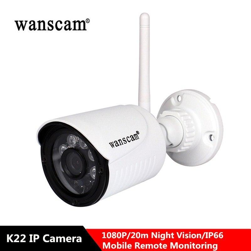 Wanscam P2P K22 1080P Wi-fi Ao Ar Livre Câmera IP de Vigilância de Segurança CCTV 2.0MP IP66 Infravermelho À Prova D' Água Cam Apoio TF SD cartão