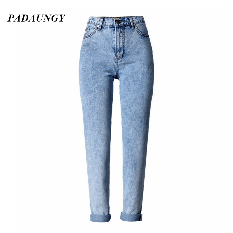 ФОТО PADAUNGY Ankle Length High Waist Jeans Straight Jeggings Slim Denim Pants Plus Size Trousers Autumn Winter Pantalon Jean Femme