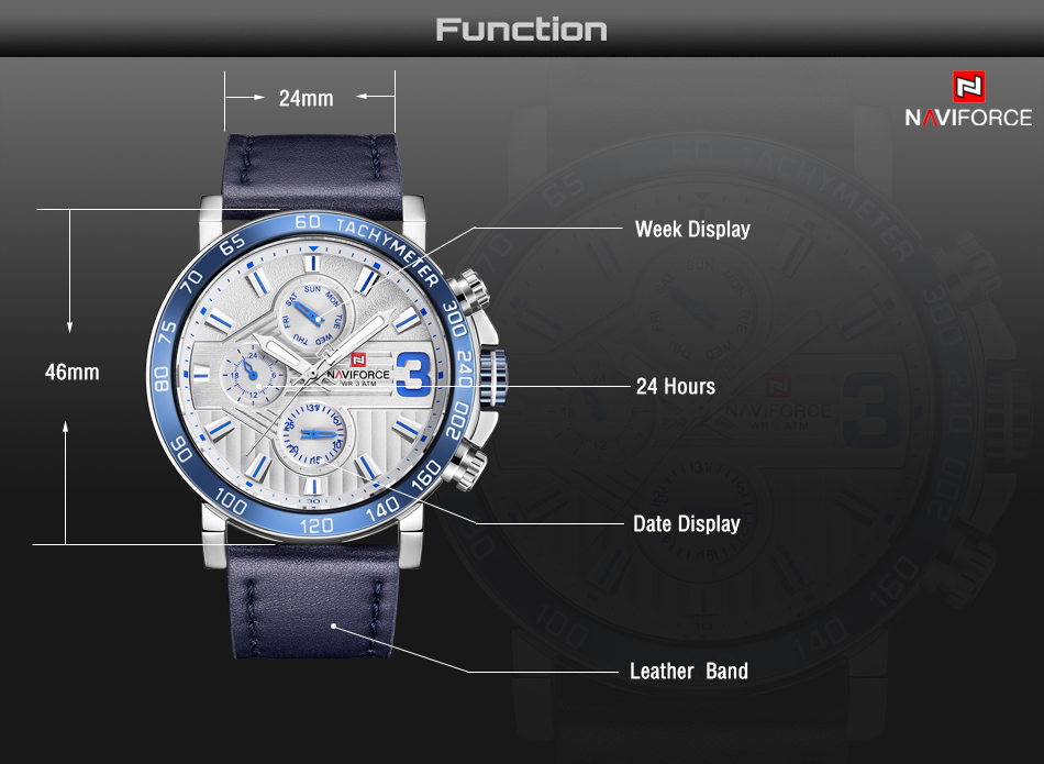 Top Brand Luxury NAVIFORCE Watches Men Fashion Leather Quartz Date 6 dial Clock Casual Sports Male Wrist Watch Montre Homme 5