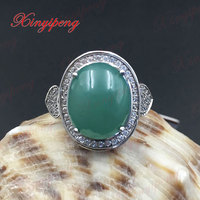925 Sterling Silver With 100 Natural Jade Ring Women Mother A Gift Green Colored Gems