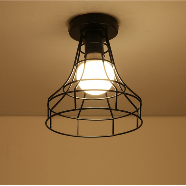 Zwarte SmeedijzerenLed Plafond Lampen  4
