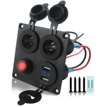 Double 4 in 1 Blue LED Light Auto Socket + Dual USB Voltmeter Charger Adapter with Blue Display for Car Boat(China)