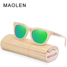 MAOLEN Wood Sunglasses Women Polarized Lens Sun Glasses Bamboo Frame Eyewear 2017 New Designer Shades UV400 Protection Sunglass