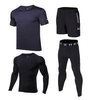 4pcs Kids Compression Running Sets Sports Suit Shirts Shorts Pants Footbal Basketball Soccer GYM Fitness T shirt Tights Leggings