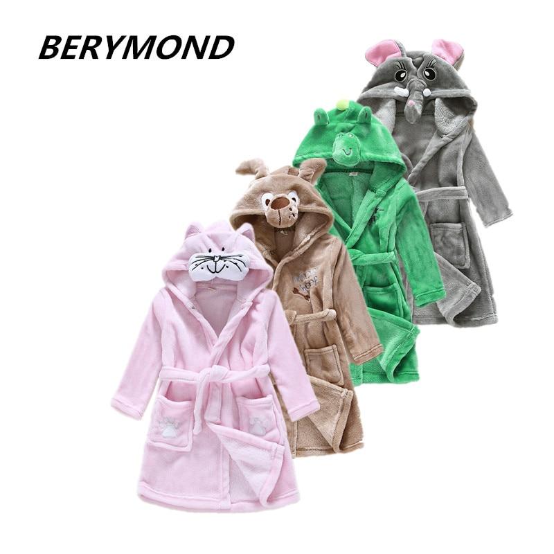 Brand Flannel Boys&Girls Cartoon Dog Peignoir Enfant Gown Hooded Robes Children Bathrobe Kids Winter Gray Home Wear Soft Pajamas