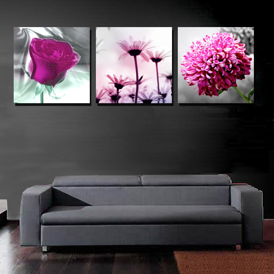 panel moderna de la lona impresiones de la pintura prpura de la flor margarita rosa