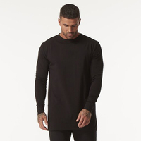 GINGTTO Long Sleeve T Shirt Men Black Hip Hop Drop Shoulder Longline Oversized Tee Male Autumn