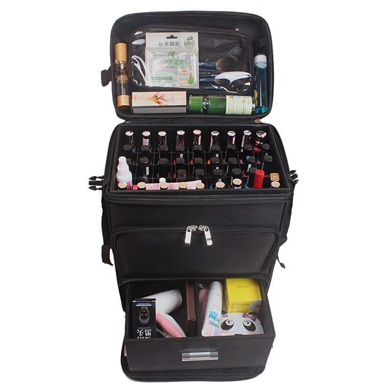 Multifunction Trolley Cosmetic Case Rolling Luggage Bag On Wheels,ladies Nails Makeup Toolbox,Beauty Tattoo Salons Suitcase