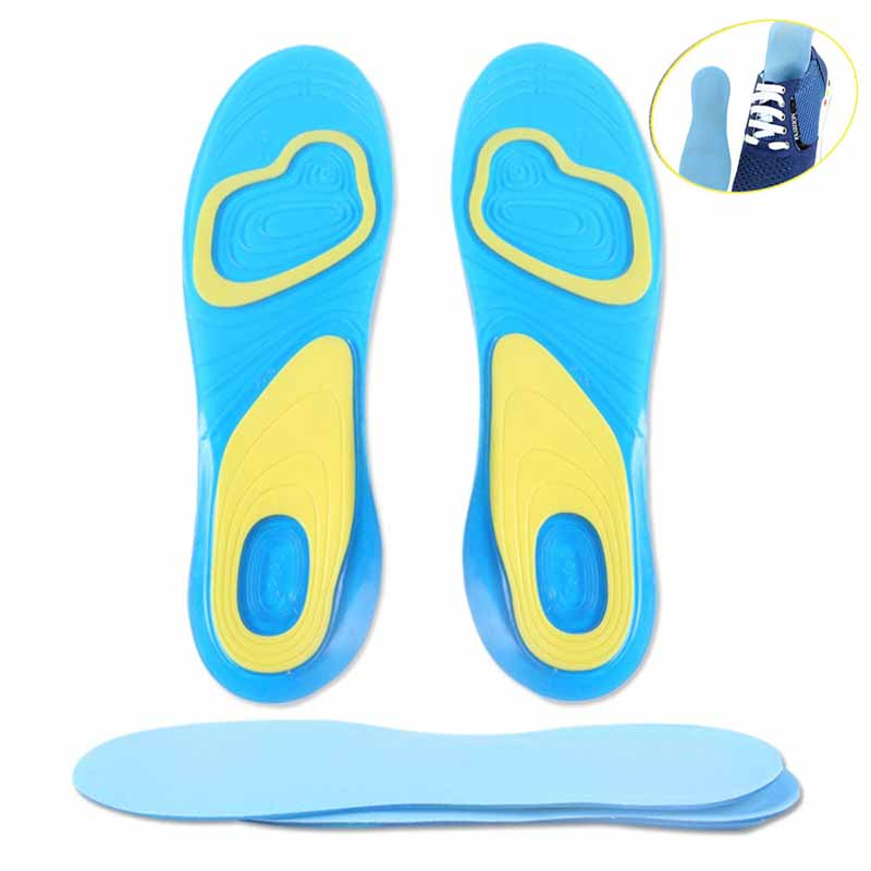 1 Pair Soft Silicone Anti-Slip Shoes Pads Orthotic Arch Support Massage Flat Foot Insole Gel Pad HJL2017 1 pair silicone anti slip gel soft sport insole cushion pad orthotic arch support massaging shoes pads foot care for man women