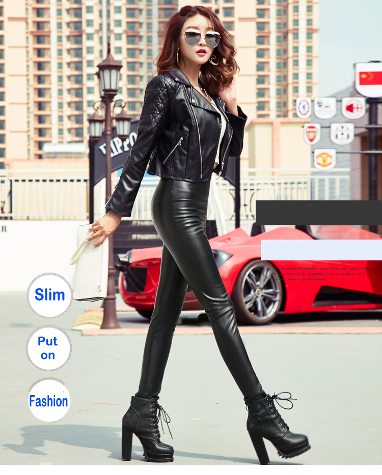 Autumn Winter Women Thin Velvet PU Leather Pants Female Sexy Elastic Stretch Faux Leather Skinny Pencil Pant Women Tight Trouser 19