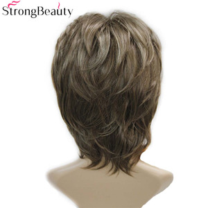 Image 3 - Strong Beauty Brown with Blonde Wigs Highlights Short Straight Hair Ladys Synthetic Wig