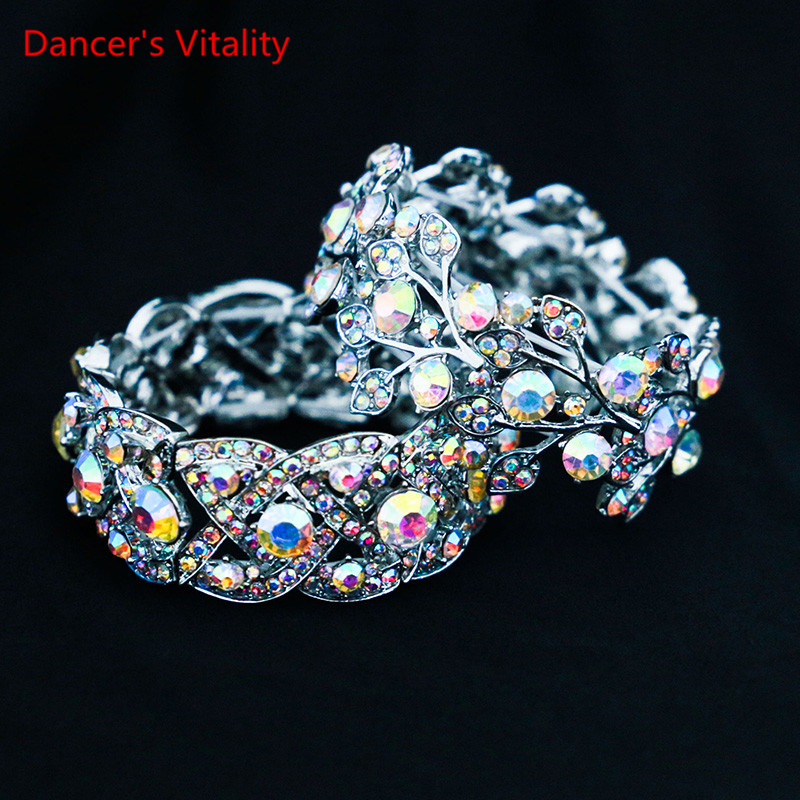 New Belly Dance Bangle Silver Crystals Stone Bracelet Bellydancing Circlet Wristlet Accessories