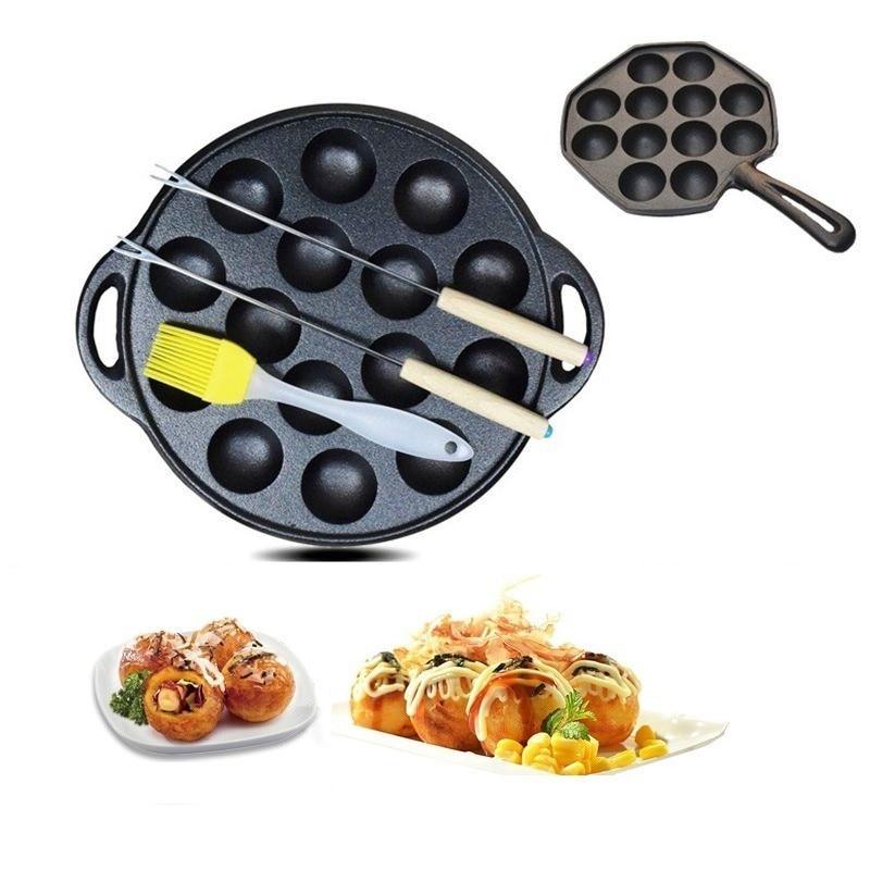 12 Hole/15 Hole Cast Iron Uncoated Nonstick Octopus Ball Takoyaki Maker Meatball Mold Cake Baking Pan Bakeware Tool BBQ Plate