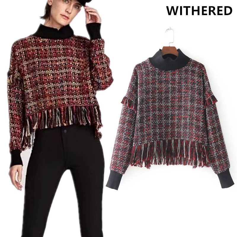 Withered 2017 winter BTS plaid sweatshirt women england style turtlneck Tassels The woollen cloth Mosaic sweatshirt women tops