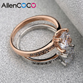 Allencoco 18kg Rose Gold Plated Four Claws Mosaic 2kt Quality CZ Diamond Wedding Ring For Women Engagement  Jewelry