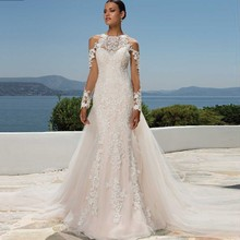 Luxury Sheer Long Sleeve Illusion Back Full Lace Appliques Mermaid Wedding Dress With Watteau Train Bridal Gown New Design