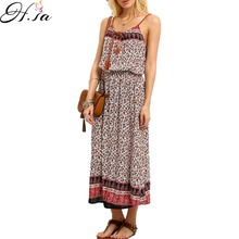 Summer Dress Sexy Bohemian Beach Dresses Pleated Maxi