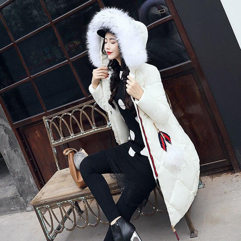 2017 Hiver À De rose Green Blanc Noir gris Femmes Mince Maxi Long blanc Neige Porter Nouveau Fourrure rouge Capuchon Solide Survêtement Épais army Veste Manteau Col qn7n0FwXx