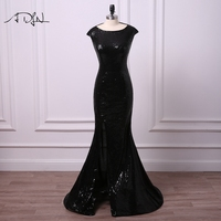 ADLN Hot Sale Black Sequin Evening Dresses Sexy Slit Mermaid Party Wear Long Formal Special Occasion