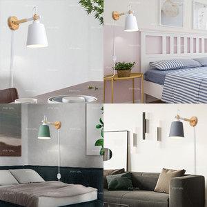Image 4 - Lâmpada de parede de madeira nordic linha luz cabo com botão interruptor dimmer lâmpadas parede para o quarto sala jantar incandescente luzes parede