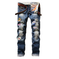 Men's Brand Designer Repaired Distressed Biker Jeans Patches Decorated Straight Slim Badges Ripped Denim Jeans Patchwork Jeans