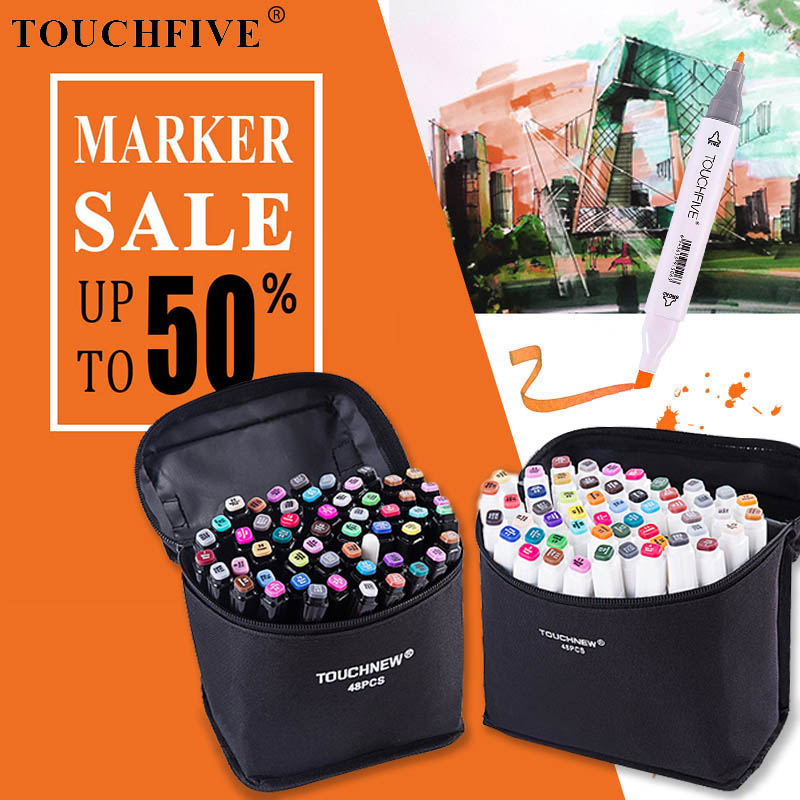 TOUCHFIVE 30/40/60/80 Color Art Marker Alcohol Based Sketch Markers Brush Pen For Drawing Manga Art Supplies