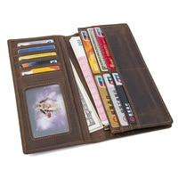 Long Simple Purse Men Wallet Genuine Leather Solid Wallets