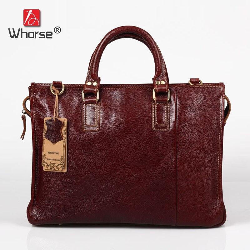 Vintage Handmade Top Cowhide Leather Mens Business Briefcase 15 inch Laptop Bag Satchel Crossbody Messenger Bags For Men W092060