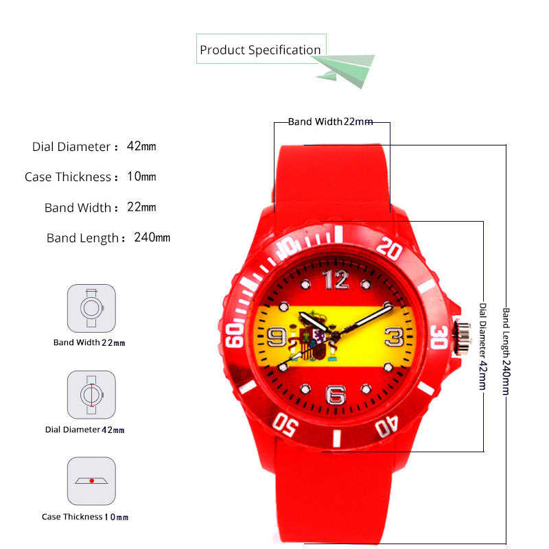 Logo Flag Sport Men Watch Football Game Unisex Fan Watches Women Soccer  Club Party Wrist Brazil Argentina Germany Portugal Spain