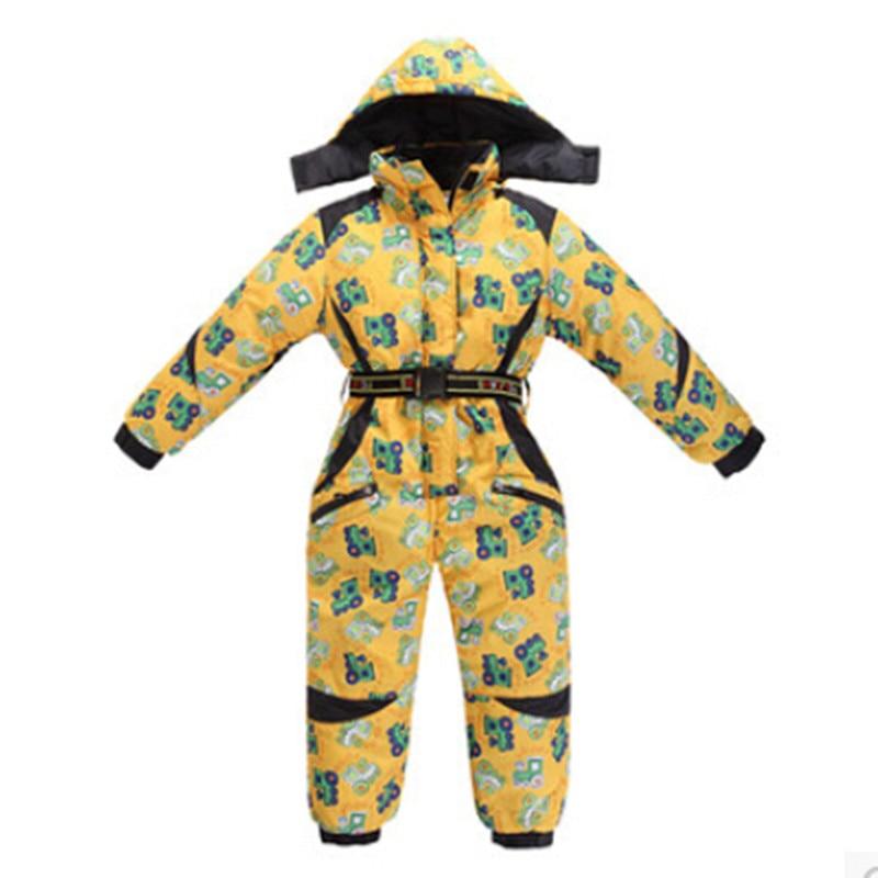 2015 New winter kids rompers boy clothes children ski suit cartoon jumpsuit girls warm waterproof windproof overalls 3-9 years