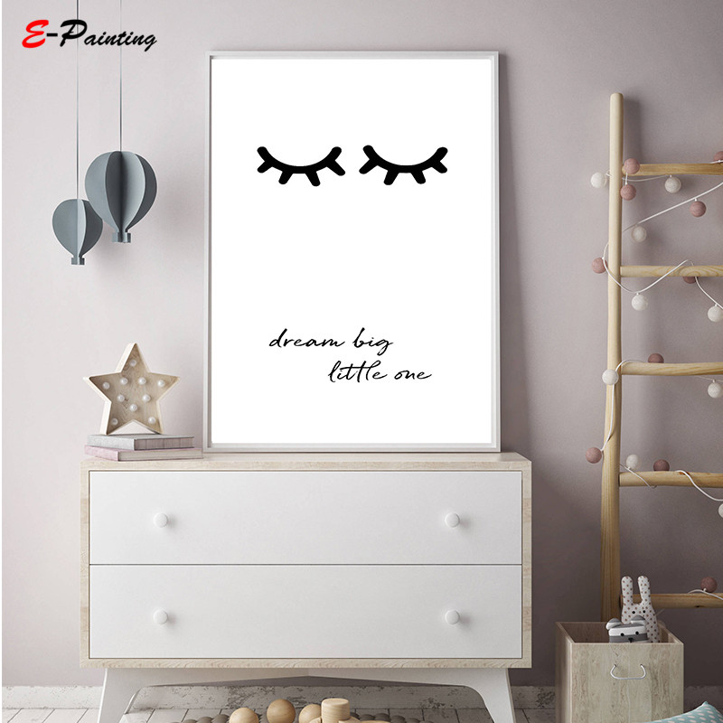 Eyelashes Printable Nursery Wall Art Dream Big Little One Quote Poster Bedroom Canvas Painting With Free Shipping Worldwide Weposters Com