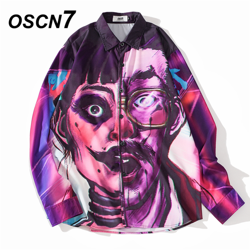 OSCN7 Casual Printed Long Sleeve Shirt Men Streetwear 2019 Fall Hawaii Beach Long Sleeve Shirts Harujuku Mens Shirt QJ16