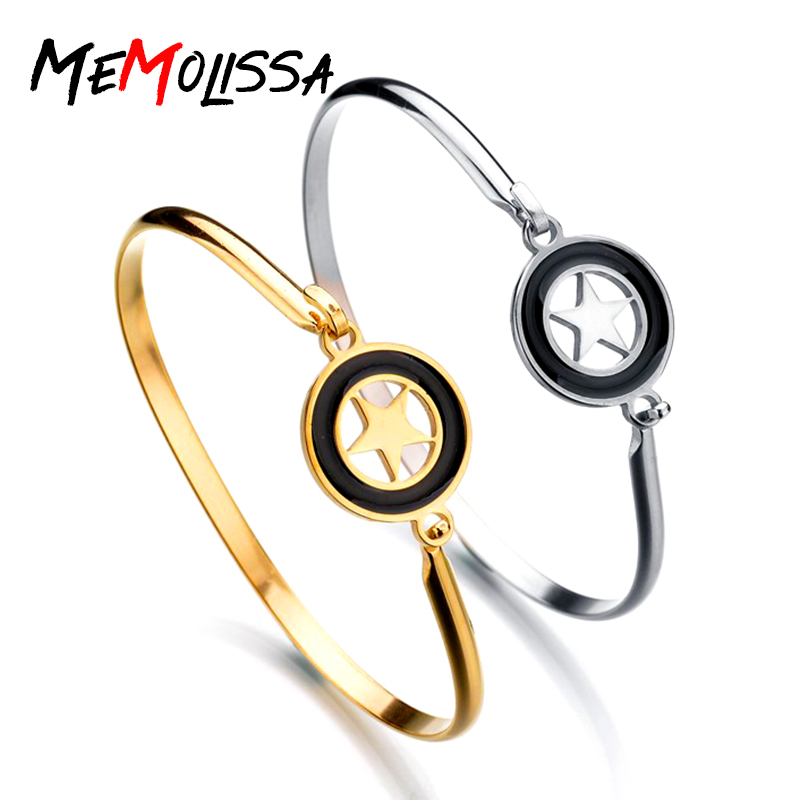 MeMolissa Star Bangle Bracelet Cuff Bracelets For Women Gold/Silver Color Bangle Stainless Steel Bangles Jewelry