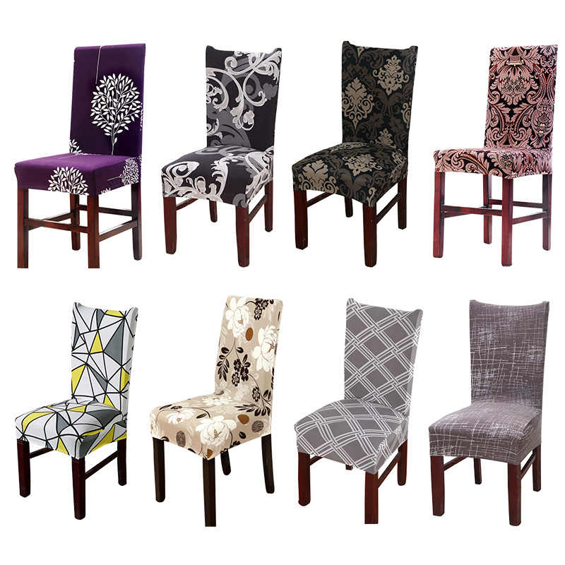 Spandex Printing Dining Chair Slipcover Modern Removable Anti-dirty Kitchen Seat Case Stretch Chair Cover for Weddings Party55