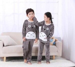 Image 3 - 4 15Y Cartoon Jongen Meisjes Pyjama Sets Pluche Warm Peuter Meisje Nachtkleding Kleding Baby Broek Kids Nachtjapon Kleding Homewear HONG01