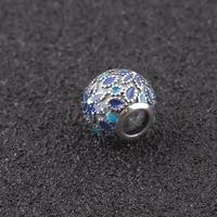 Fit Pandora Charms Silver 925 Original Blue Enamel Flower Beads For Charms Bracelet Pendant Jewelry