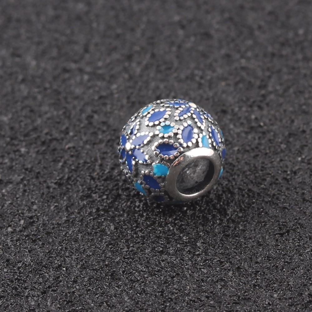 ZMZY Fit Pandora Charms Silver 925 Original Blue Enamel Flower Beads for Charms Bracelet Pendant Jewelry