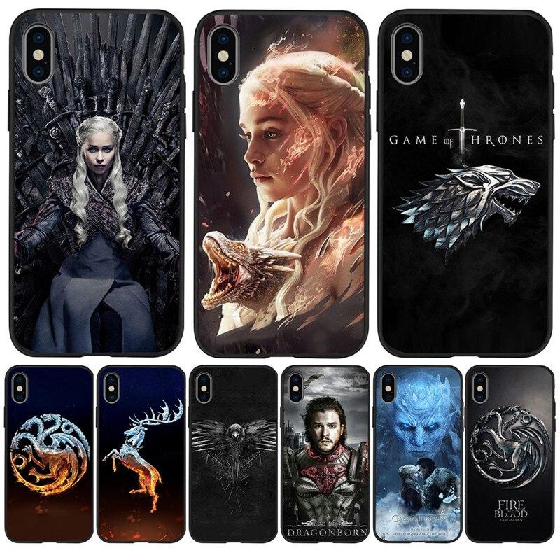 Game Thrones Daenerys Dragon Jon Snow For iPhone X XR XS Max 5 5S SE 6 6S 7 8 Plus phone Case Cover phone Funda Coque Etui capa(China)