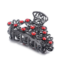 Hot Sale 3 Colors Korean Crystal Hair Clip Elegant Women Black Barrettes Hairgrips Accessories Girl Crab Claw Jewelry