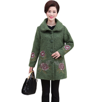 L 5XL Plus Size Women Autumn Winter Woolen Cashmere Coat Floral Embroidery Thicken Loose Wool Blend Best Gift for Mother XH920