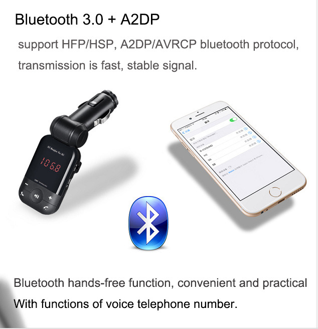 New 12V-24V auto stereo bluetooth hands free car kit FM transmitter U disk TF card MP3 music player voiture bluetooth telephone 13