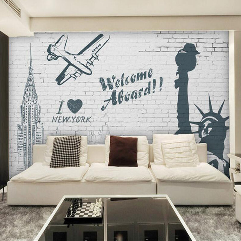 compare prices on wall murals wallpaper graffiti online shopping modern abstract statue of liberty photo wallpaper graffiti wall mural tv backsplash brick wall art decor