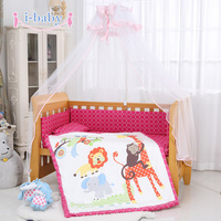 Lovely Jungle Animals 6PCS Printed Crib Bedding For Girl