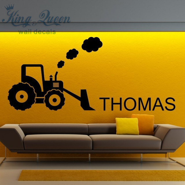 Tractor and Digger Nursery Wall Stickers vinyl wall art Personalised ...