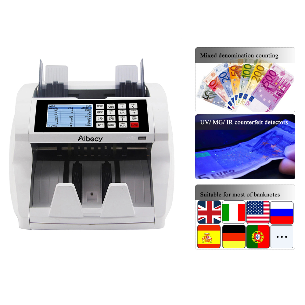 Aibecy Multifunction Currency Cash Bill Money Counter Counting Machine With Mix Counting Function Financial Equipment Wholesale