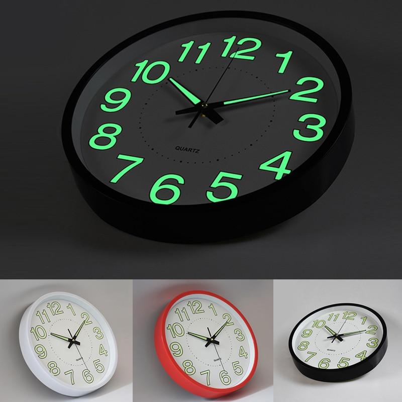לילה אורות זוהר 1 יחידות 12 inch עיצוב בית אופנה יצירתיים חדר שינה סלון קיר שעון קוורץ שעונים