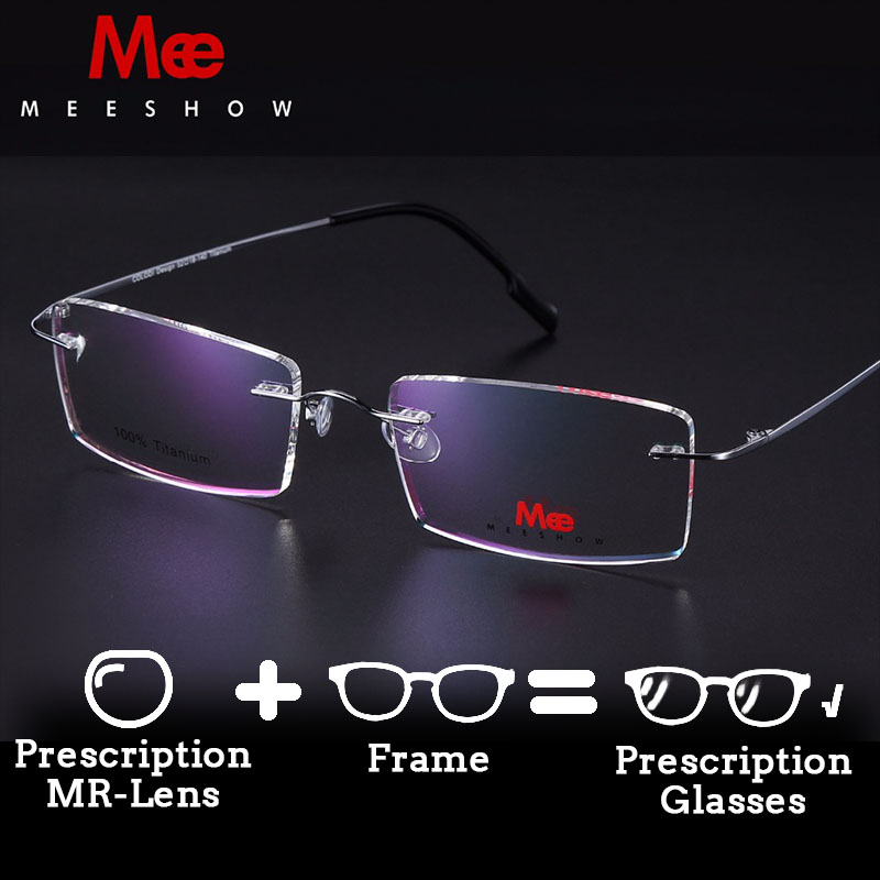 Meeshow Brand design Rimless Glasses 100% Pure Titanium glasses optical frame with case Eyeglasses Custom myoptics Lens(China)