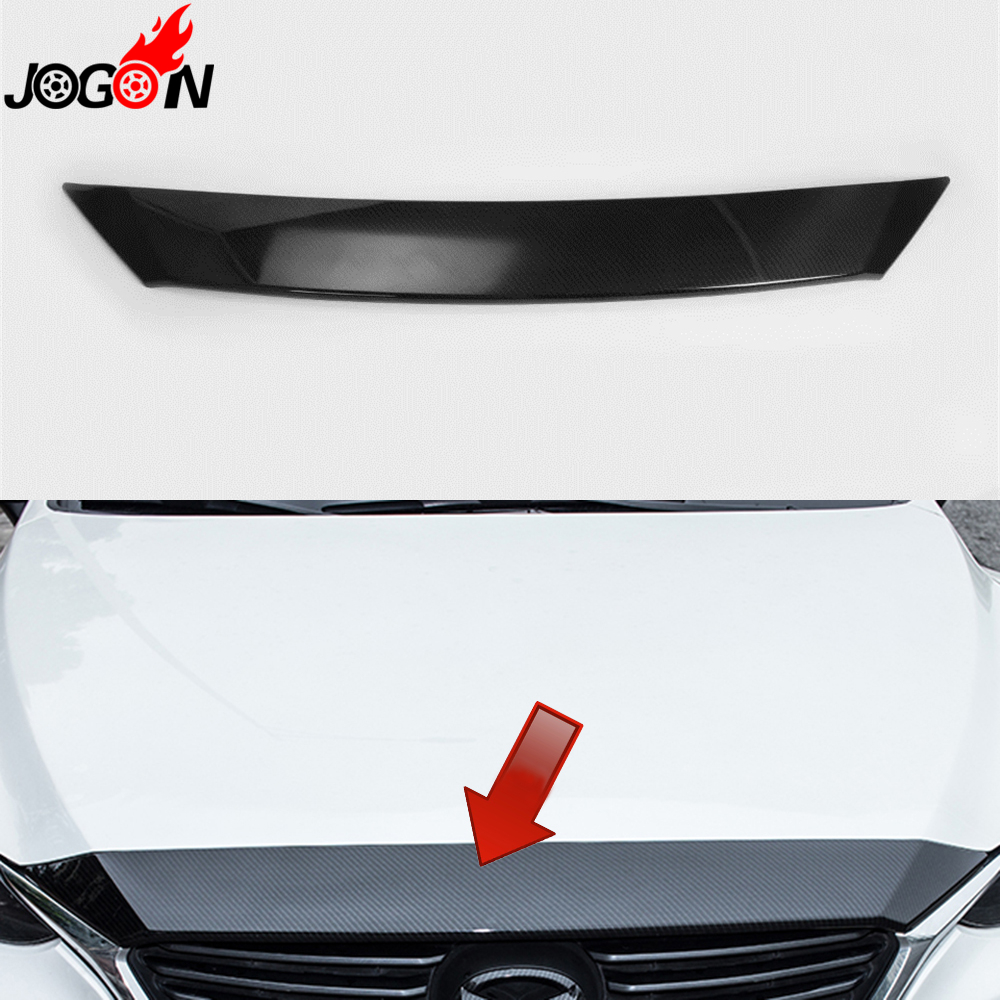 For Mazda 6 Mazda6 M6 Atenza 2017 Car Front Engine Hood Upper Grille Cover Sticker Trim ABS Carbon Fiber Look Car-Styling chrome front hood grill cover trim for 2014 2015 mazda 6 atenza