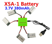 BLL new SYMA X5A-1 Quadcopter RC Helicopter Accessories 3.7V 380mah lithium battery and charger 5 in 1 Kit